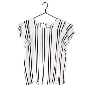 A New Day Striped Ruffle Sleeve Top